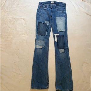 Hudson jean patched medium wash jeans